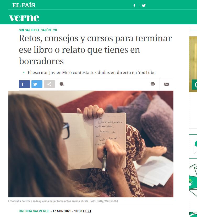 Salgo en un reportaje en Verne. Javier Miró