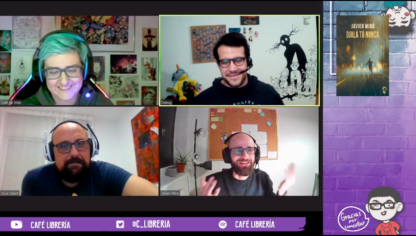 entrevistan en el canal de twitch de Café Librería. Javier Miró