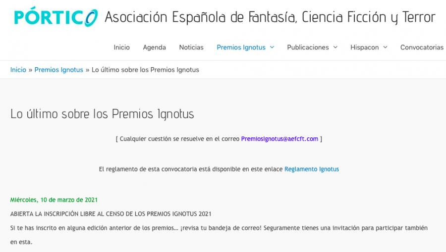 Inscripción al censo. Premios Ignotus. Javier Miró